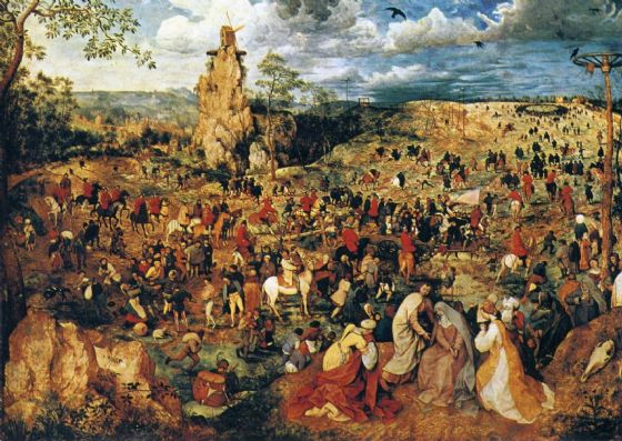 Bruegel the Elder, Pieter: Christ Carrying the Cross. Religious Fine Art Print/Poster. Sizes: A4/A3/A2/A1 (00872)